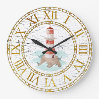 Lighthouse Weathered Finish Personalize Large Clock