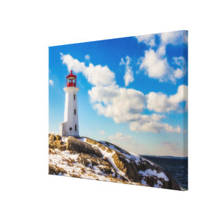 Lighthouse | Winter In Peggy'S Cove, Nova Scotia Canvas Print