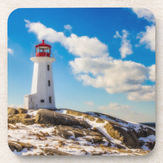 Lighthouse | Winter In Peggy'S Cove, Nova Scotia Drink Coasters