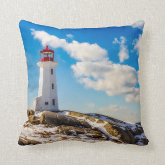 Lighthouse | Winter In Peggy'S Cove, Nova Scotia Throw Pillow