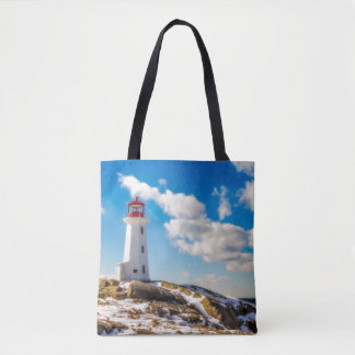 Lighthouse | Winter In Peggy'S Cove, Nova Scotia Tote Bag