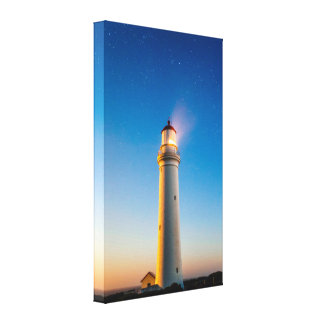 Lighthouse with a Starry Sky Canvas Print