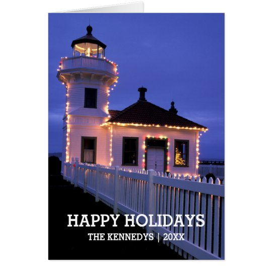 Lighthouse with Christmas Lights Card