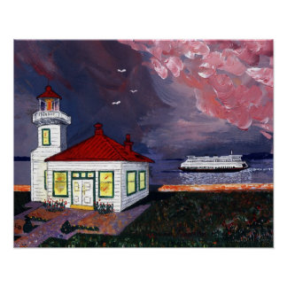 Lighthouse with Ferry Poster