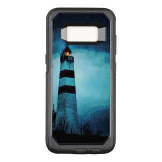 Lighthouse with light by night in pouring rain OtterBox commuter samsung galaxy s8 case