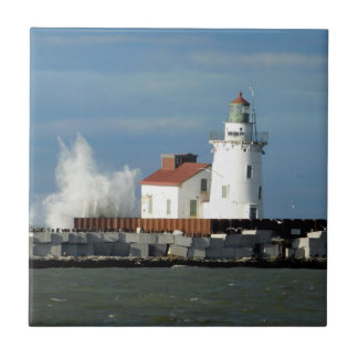 Lighthouse with Wave Ceramic Tile