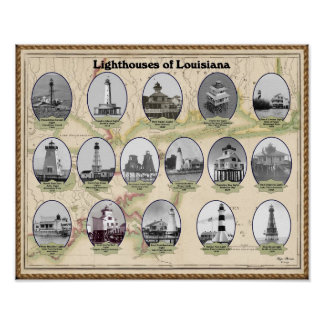 Lighthouses of Louisiana Poster