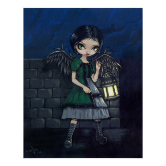 Lighting the Way gothic fairy lantern Art Print