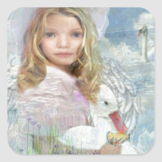 Lightness - Angel Feeding a Duck by a Pond Square Sticker