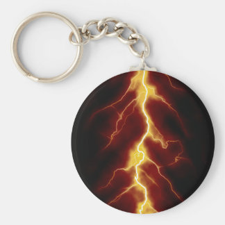 Lightning Bolt Basic Round Button Keychain