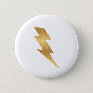 Lightning Bolt in Metallic Gold 2 Inch Round Button