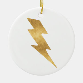 Lightning Bolt in Metallic Gold Ceramic Ornament