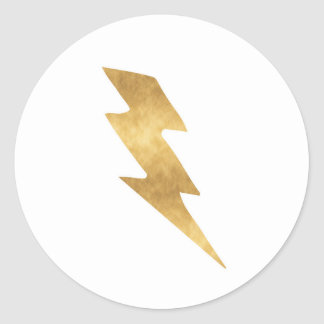 Lightning Bolt in Metallic Gold Classic Round Sticker