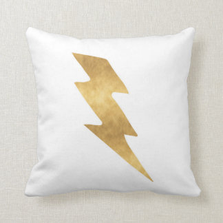 Lightning Bolt in Metallic Gold Throw Pillow