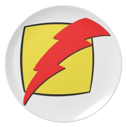 Lightning bolt retro look super hero logo plate