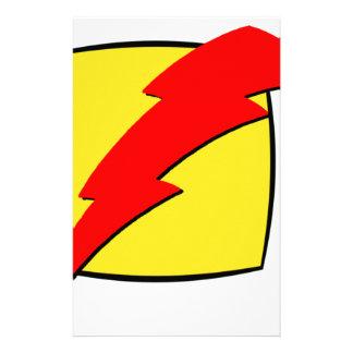 Lightning bolt retro look super hero logo stationery