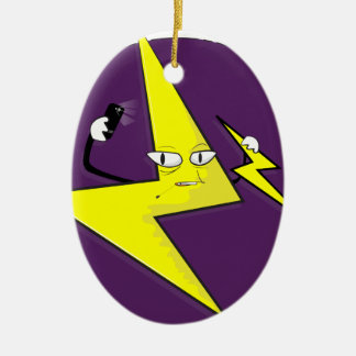 lightning bolt selfie ceramic oval ornament