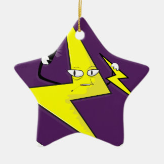 lightning bolt selfie ceramic star ornament