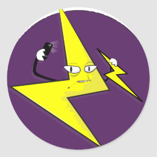 lightning bolt selfie classic round sticker