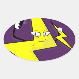 lightning bolt selfie oval sticker