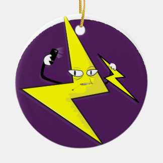 lightning bolt selfie round ceramic ornament