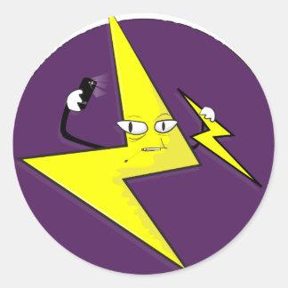 lightning bolt selfie round sticker