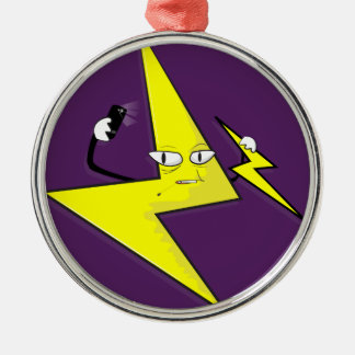 lightning bolt selfie Silver-Colored round ornament