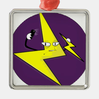 lightning bolt selfie Silver-Colored square ornament