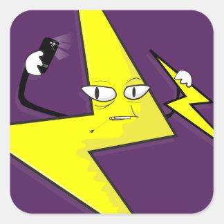 lightning bolt selfie square sticker