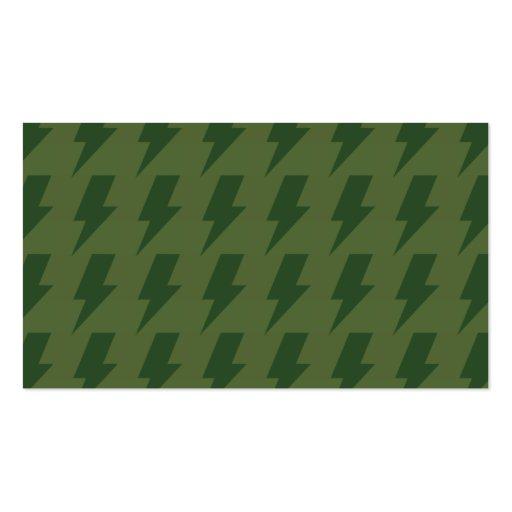 Lightning bolts greens business card template