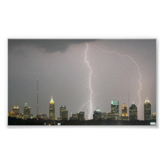Lightning bolts hitting Atlanta skyscrapers Poster
