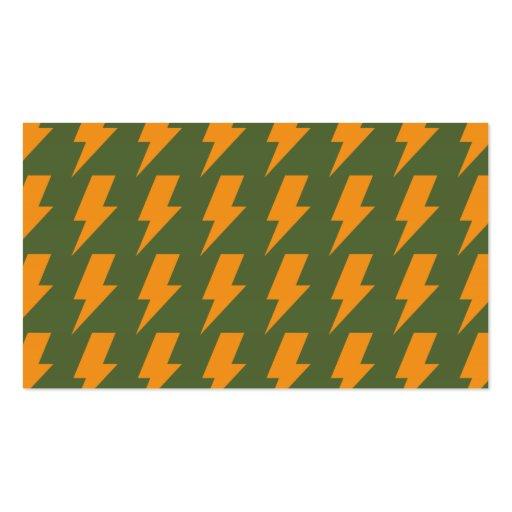 Lightning bolts orange green business cards