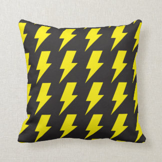 Lightning bolts yellow black throw pillow