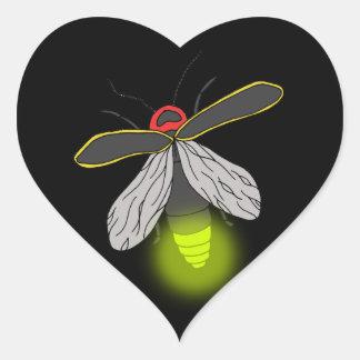 lightning bug flight lit heart sticker