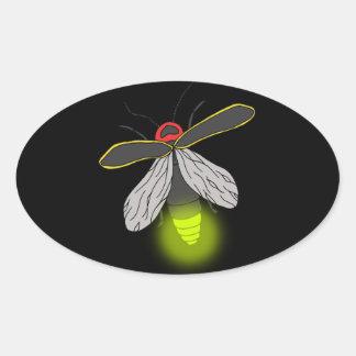 lightning bug flight lit oval sticker