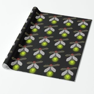 lightning bug flight lit wrapping paper