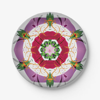 "Lightning Bug Flowers Paper Plates-7"" 7 Inch Paper Plate"