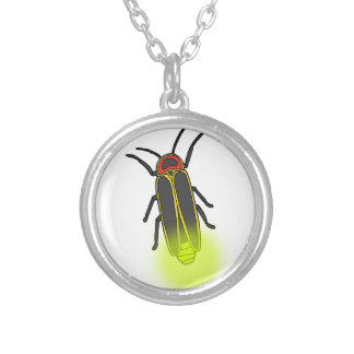 lightning bug lit silver plated necklace