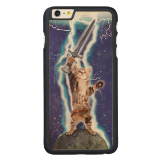 Lightning Cat Carved® Maple iPhone 6 Plus Case