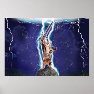 Lightning Cat Poster