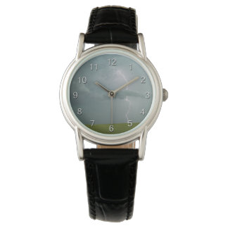 Lightning Clouds Green Field Watch