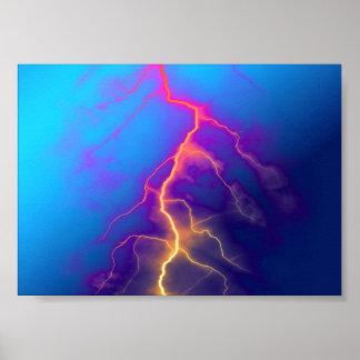 Lightning color art poster
