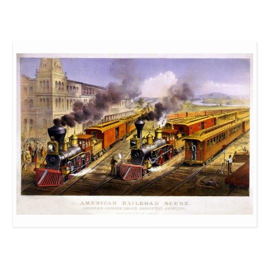 Lightning Express: An American Train Scene Postcard
