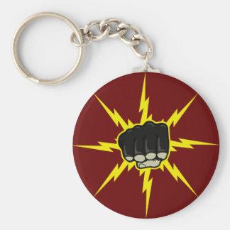 Lightning fist basic round button keychain