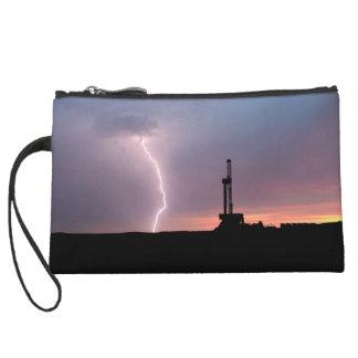 Lightning, Oil Drilling Rig, Purple Orange Sunrise Wristlet