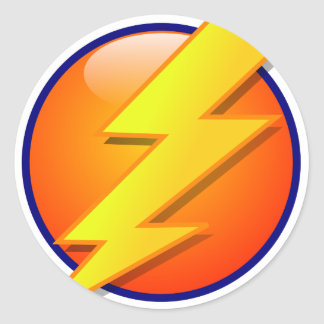 lightning orb energy icon vector classic round sticker