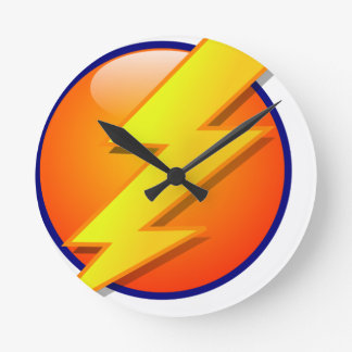 lightning orb energy icon vector round clock