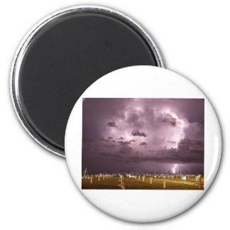 Lightning Over Miramare Di Rimini Italy Magnet