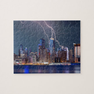 Lightning storm over New York Jigsaw Puzzle