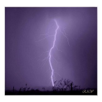 Lightning strike behind The Vulture Mountains Poster